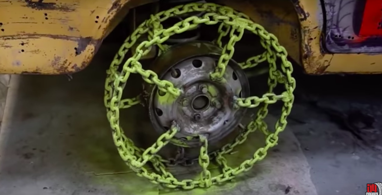 Watch This Man Drive His Car On Wheels Made Of Chains