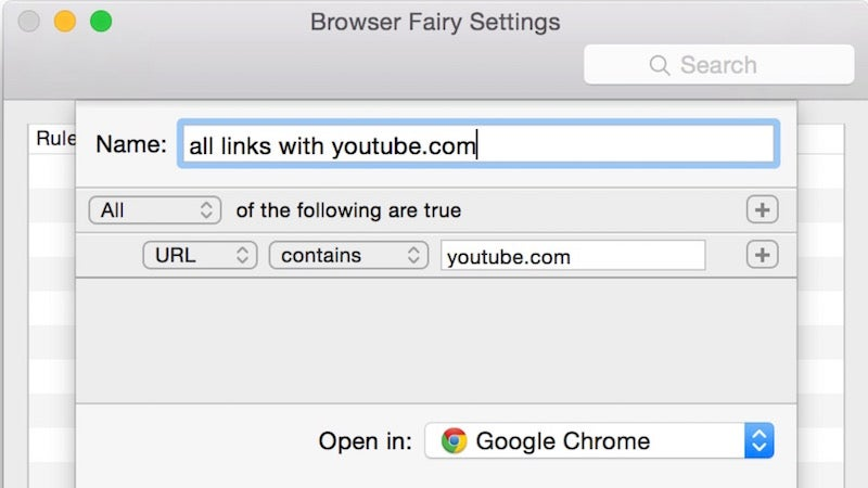 Browser Fairy for Mac Sets Rules for Which Links Open in Which Browser
