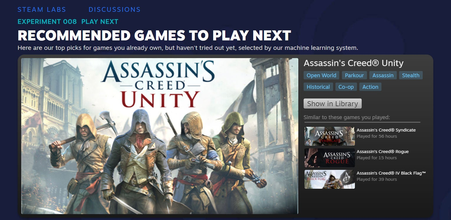 Steam Can Now Tell You What To Play Next