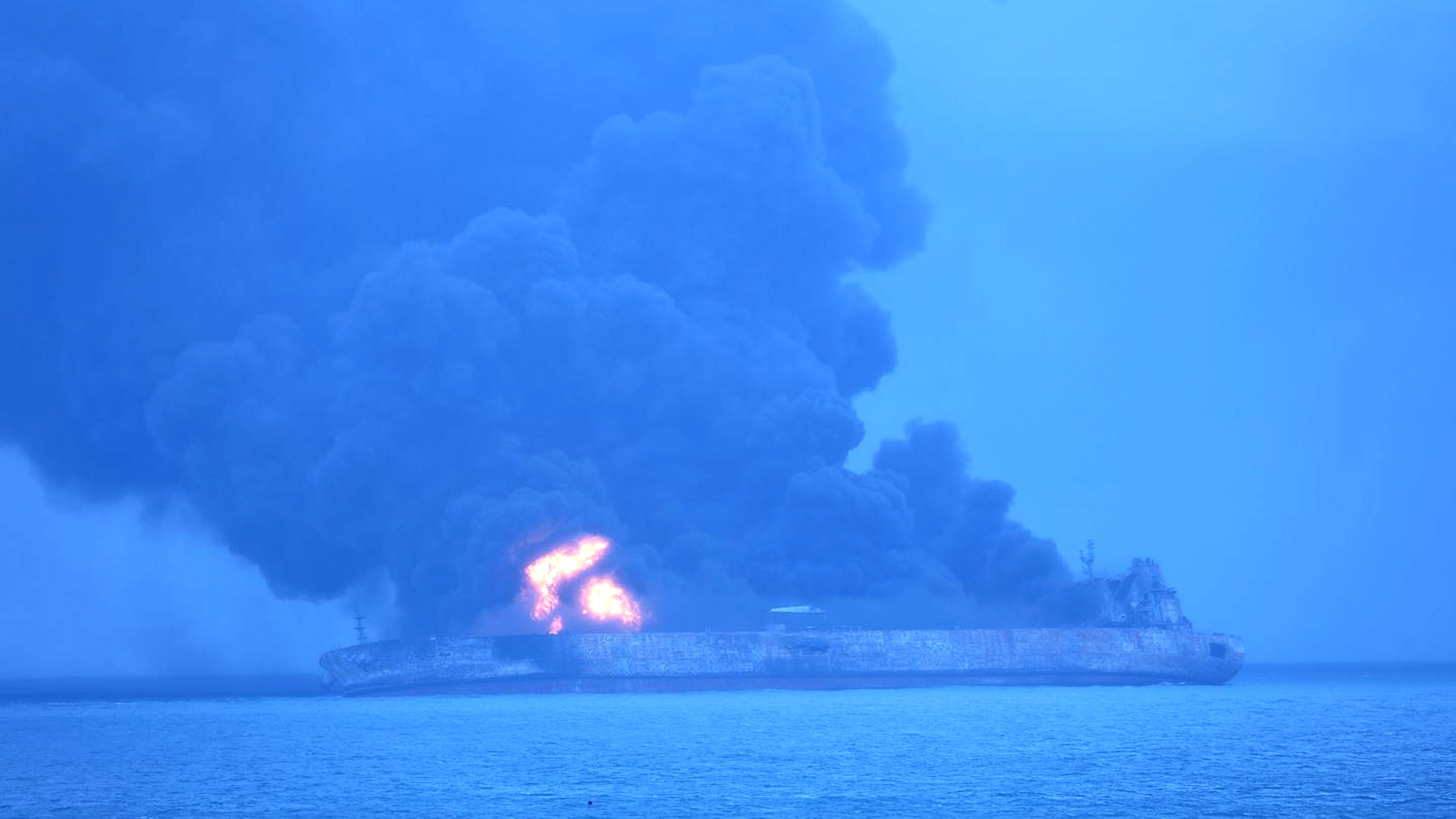 Environmental Disaster Looms As Oil Tanker Burns Off China's Coast