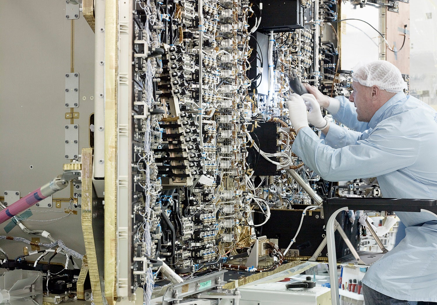The interior of a communications satellite is a cable nightmare
