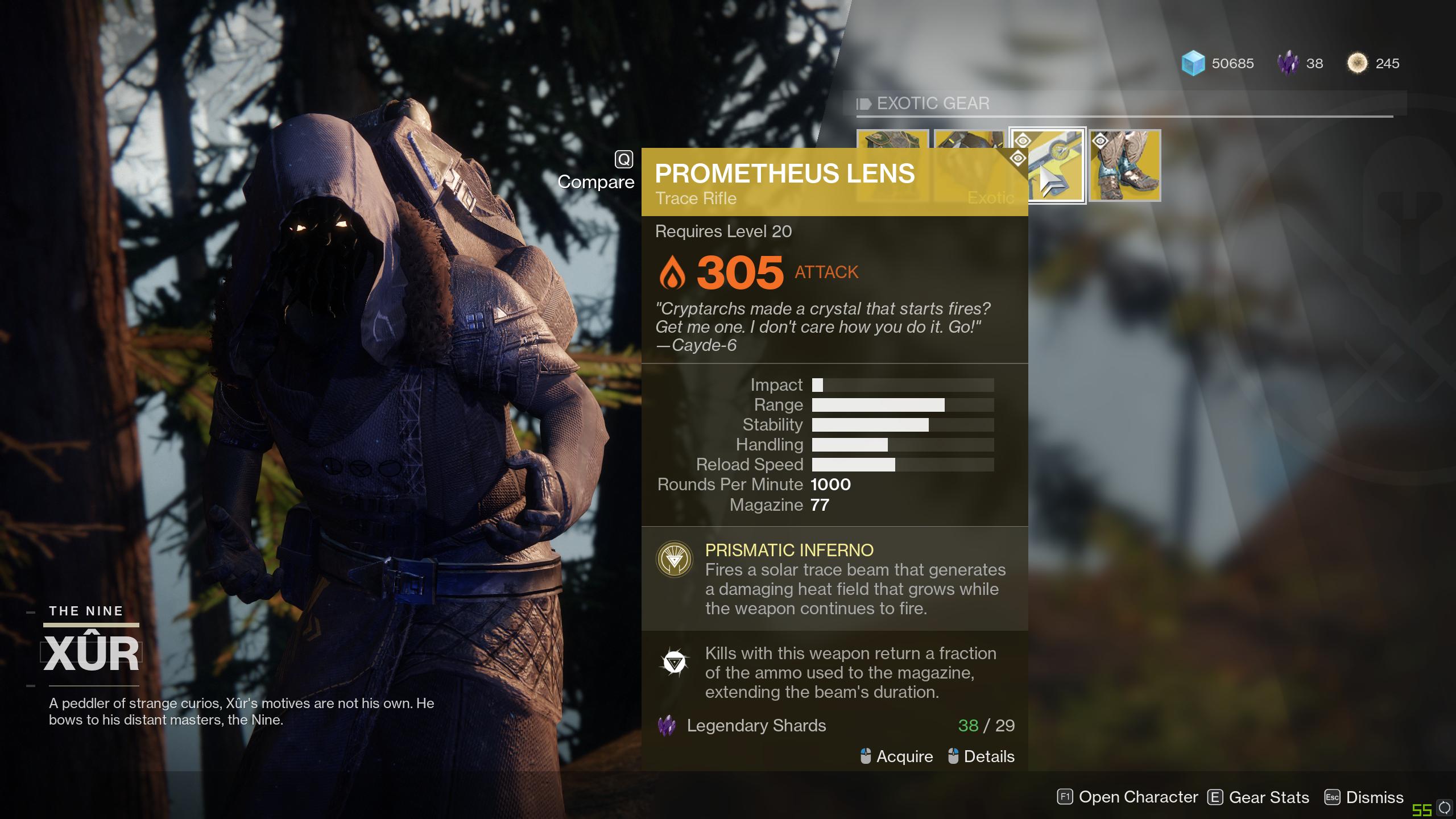 LMFAO Xur Is Selling The Prometheus Lens In Destiny 2
