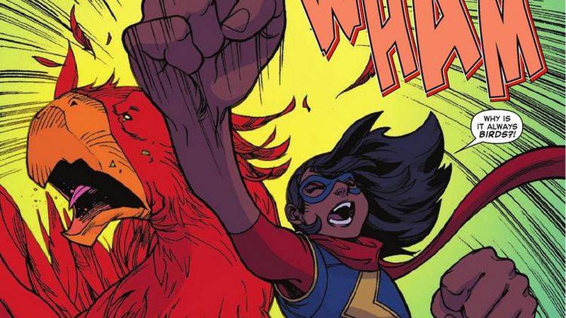 It's The Weekend, So Here's Ms Marvel Punching Out What Is Basically A Chocobo From Final Fantasy