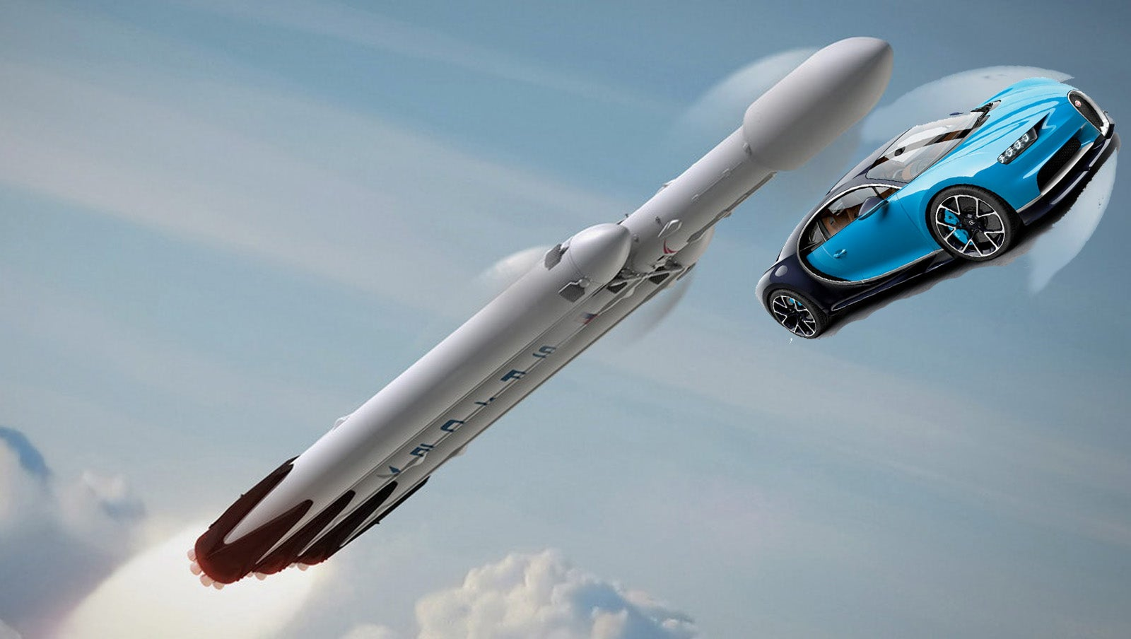 Here's Why A Bugatti Chiron Can Hit 200 MPH Quicker Than The Falcon Heavy Rocket