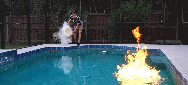 Can Liquid Nitrogen Put Out an On-Fire Swimming Pool?