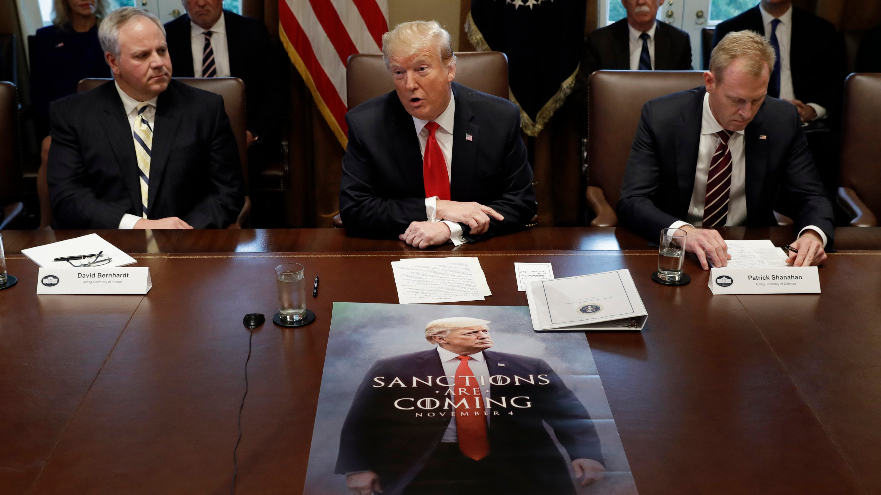 Trump's AbsurdGame Of Thrones Poster Is Now Real And Making Appearances At Meetings
