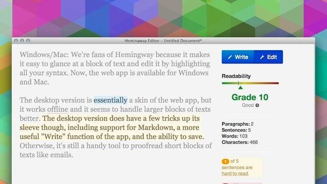 Hemingway, the Webapp that Helps You Proofread, Is Now on Desktop