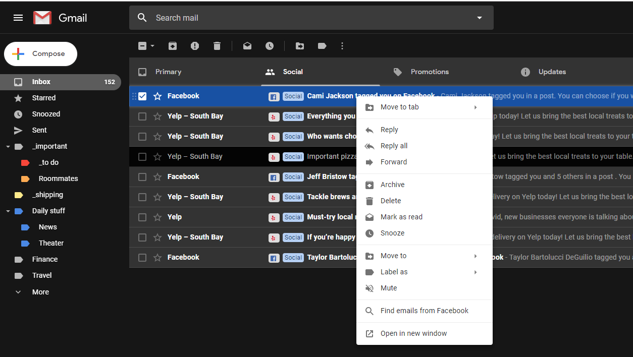 Organise Your Gmail Inbox Fast By Right-Clicking