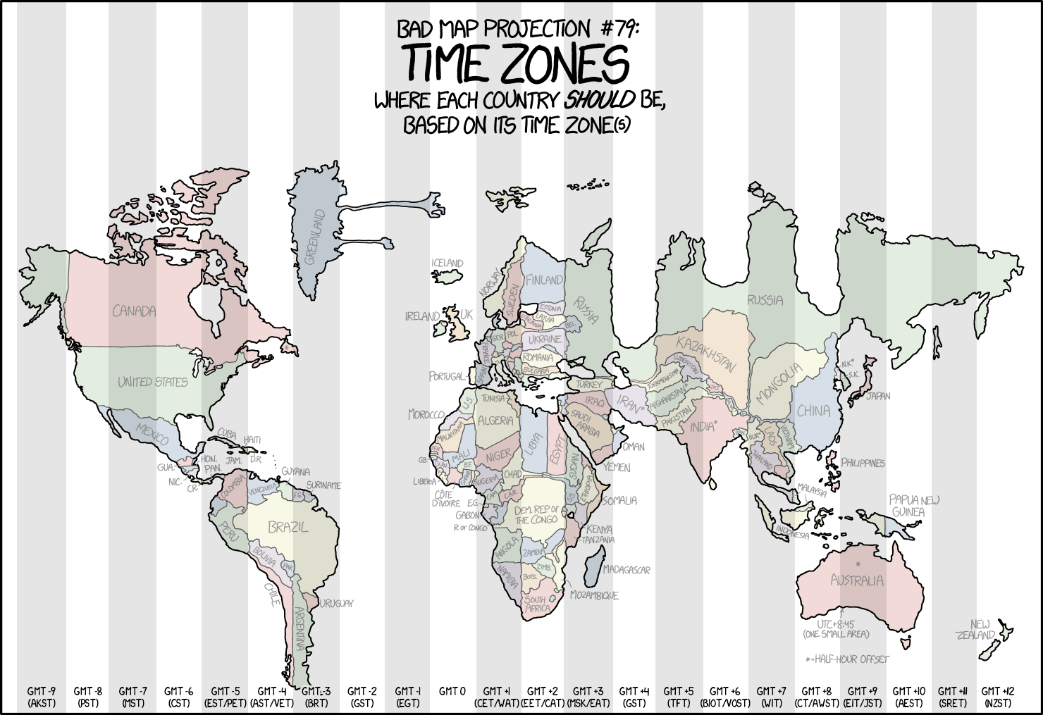 Distorted Map Shows Each Country Forced Into Its Time Zone - China time zone map