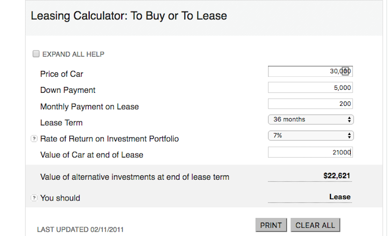 find the opportunity cost of buying a car with this buy or lease calculator lifehacker australia. Black Bedroom Furniture Sets. Home Design Ideas