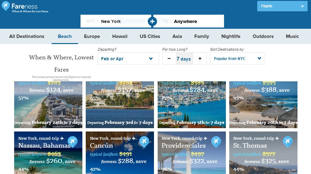 Fareness Finds The Lowest Priced Trips Based On Your Flexible Schedule