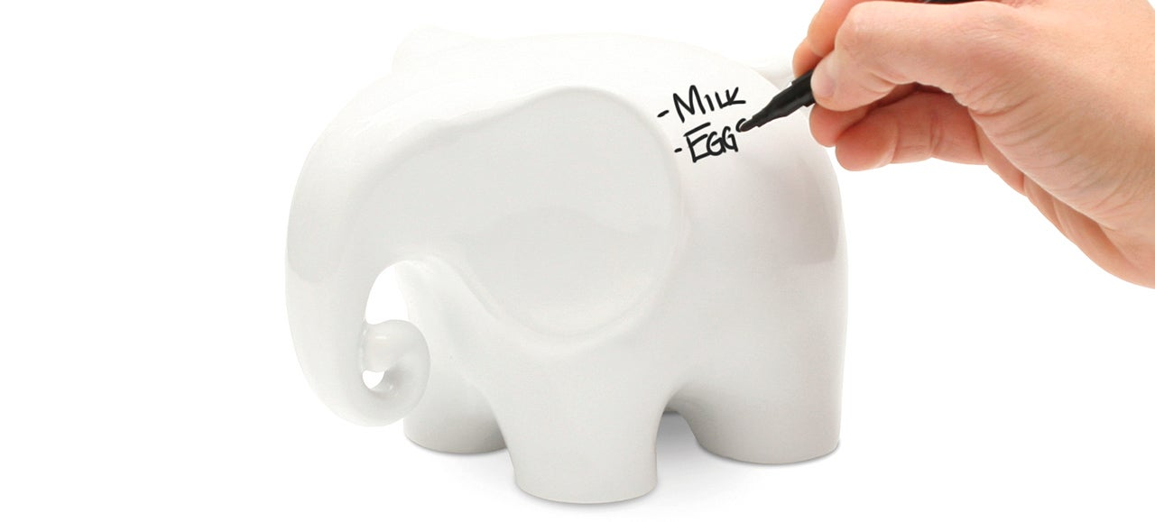 An Erasable Whiteboard Elephant That Never Forgets Your Grocery List