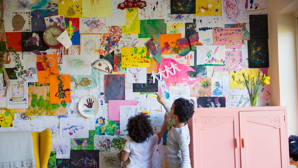 Display Your Kid's Art On An Ignored Wall