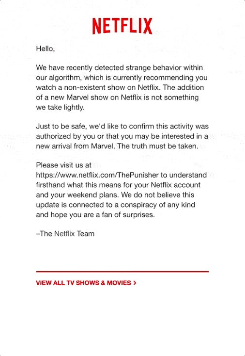 Netflix Is Promoting The Punisher With What Looks Like An Email