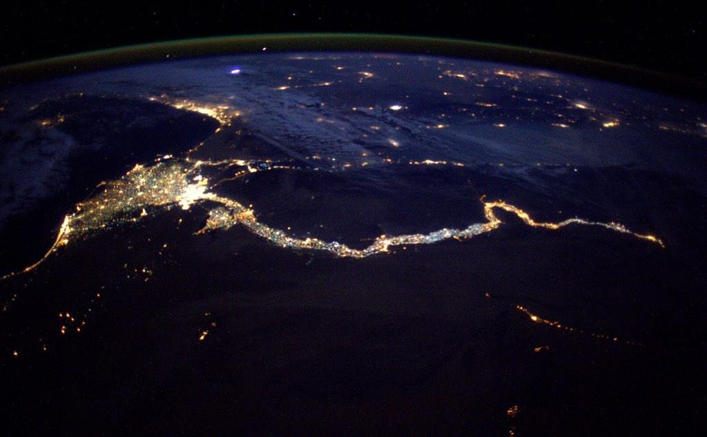 From space, the Nile looks like a cosmic King Cobra made of light