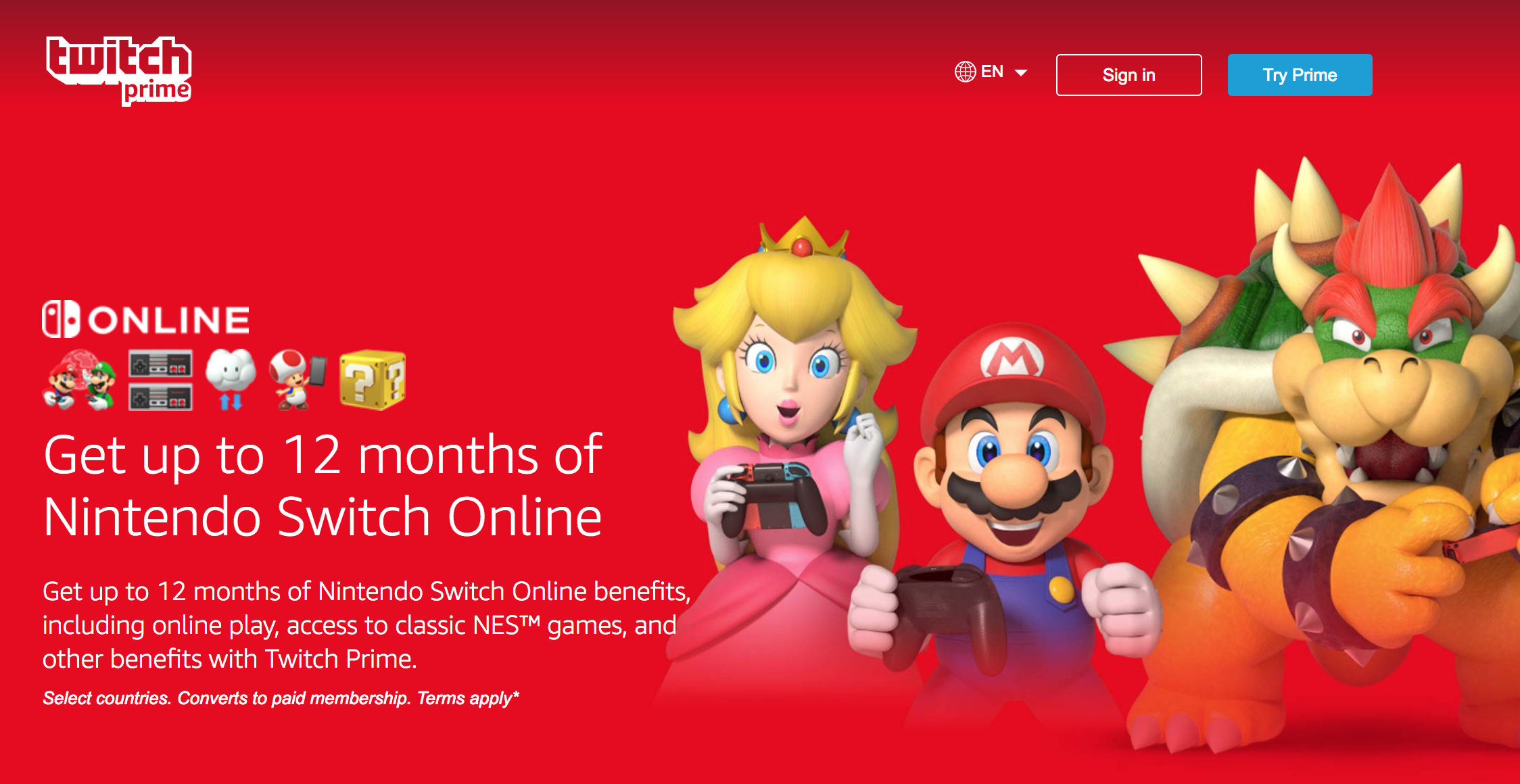 Amazon Prime Members Can Get 12 Months Of Nintendo Switch Online For Free