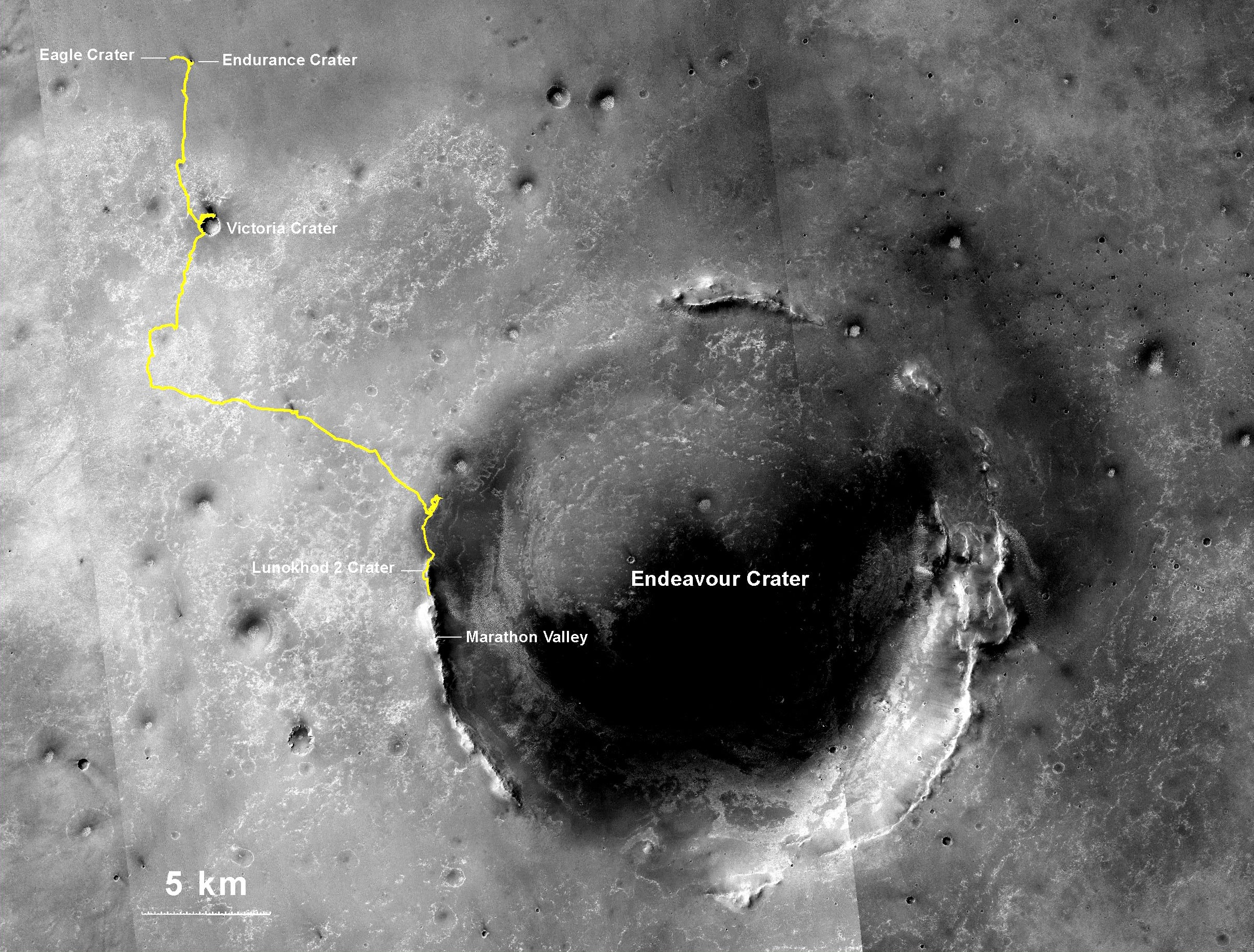 Opportunity Rover's Record-Breaking Mars Drive, Mapped