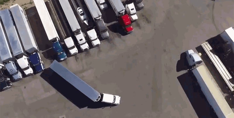 Aerial Footage Of A Trucker's Masterful Parking Skills Is The Most Satisfying Thing To Watch