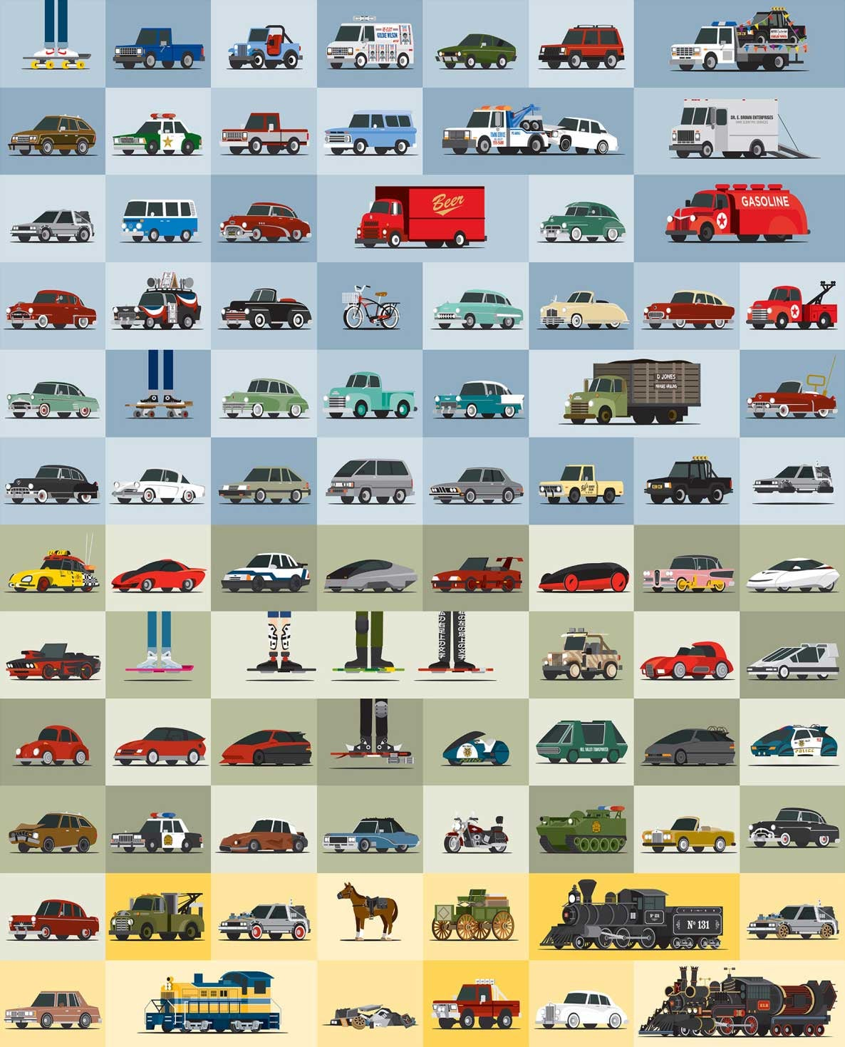 All the cars of Back to the Future in one cool poster