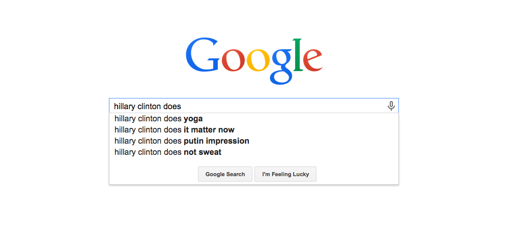 What Hillary Clinton Does, According to Google Autofill