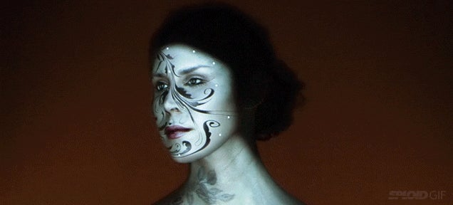 Watch a woman's face transform into art with awesome live face projection mapping