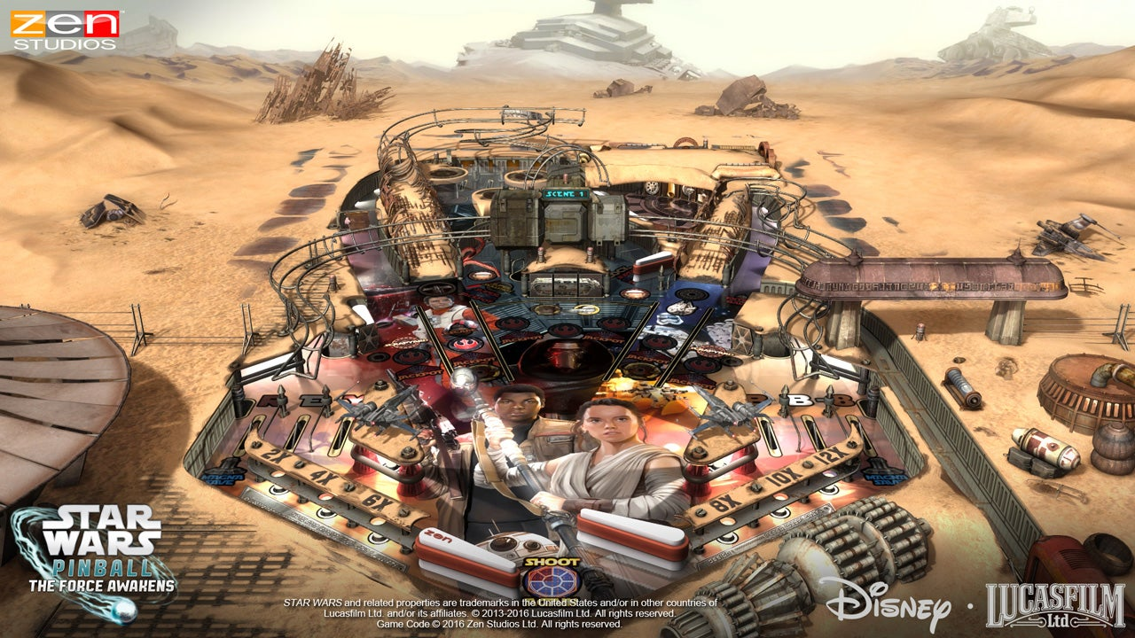 Rey Gets Premium Placement On The Star Wars: The Force Awakens Pinball Table