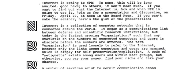 NPR Got the Internet 20 Years Ago: Read the Memo