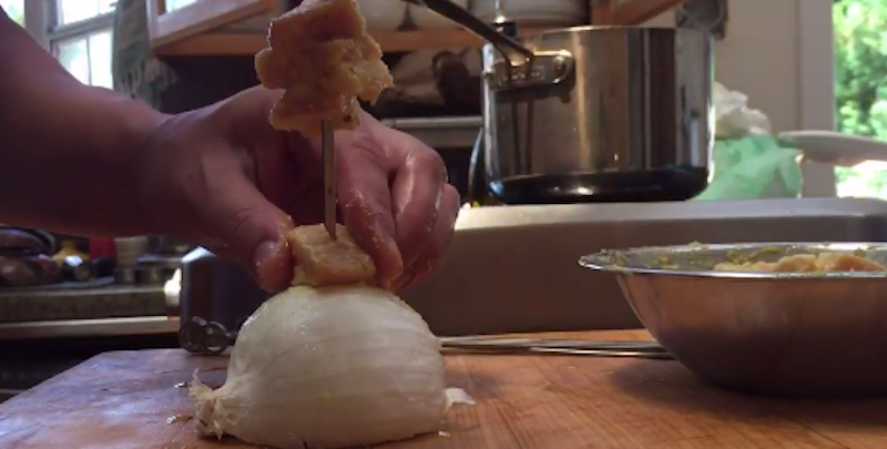 Use An Onion To Make Assembling Skewers And Kebabs Easier (And Safer)