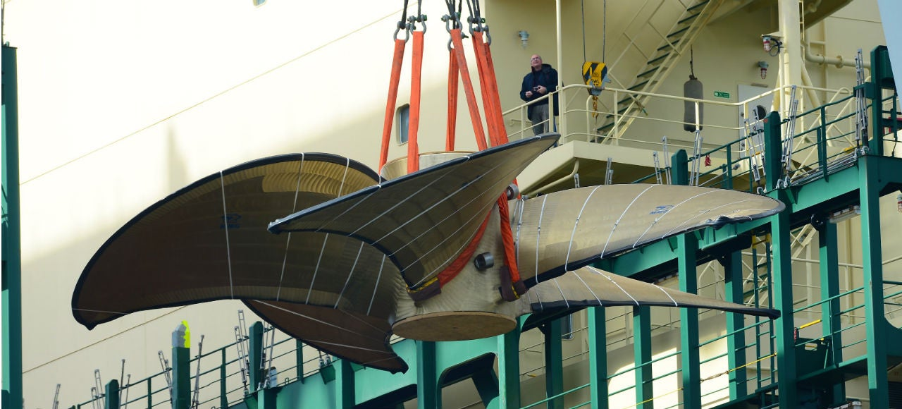 This Five-Bladed Behemoth Is the World's Largest Cargo Ship Propeller