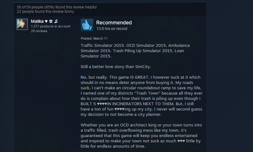 Cities: Skylines, As Told By Steam Reviews