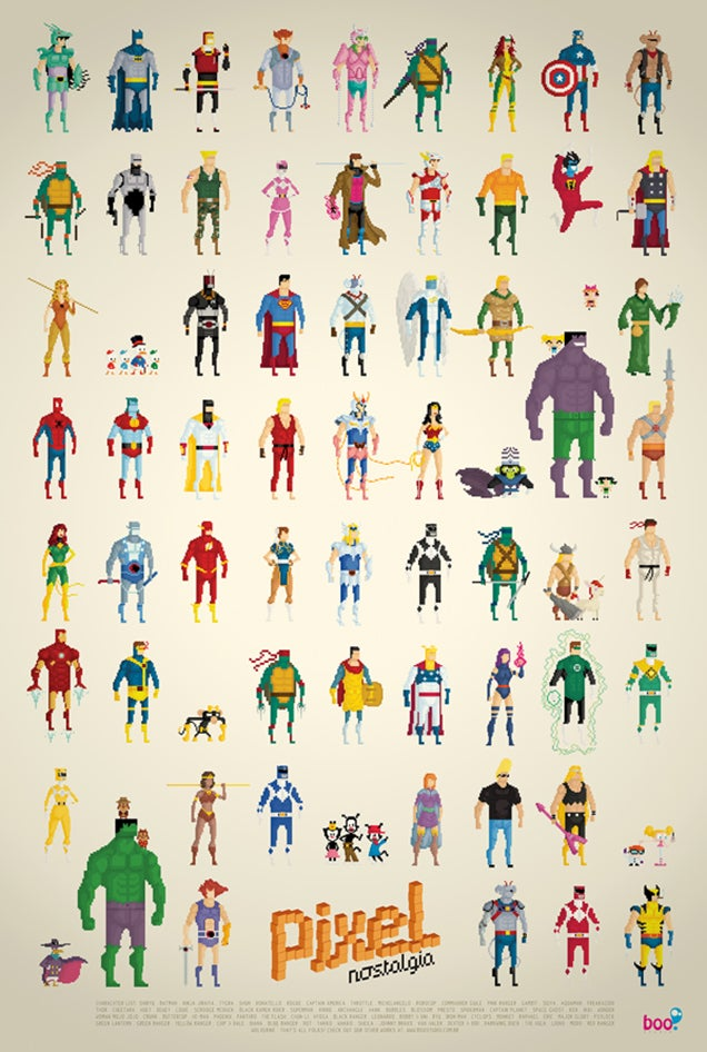 8-bit super-hero poster makes me dream of perfect adventure games