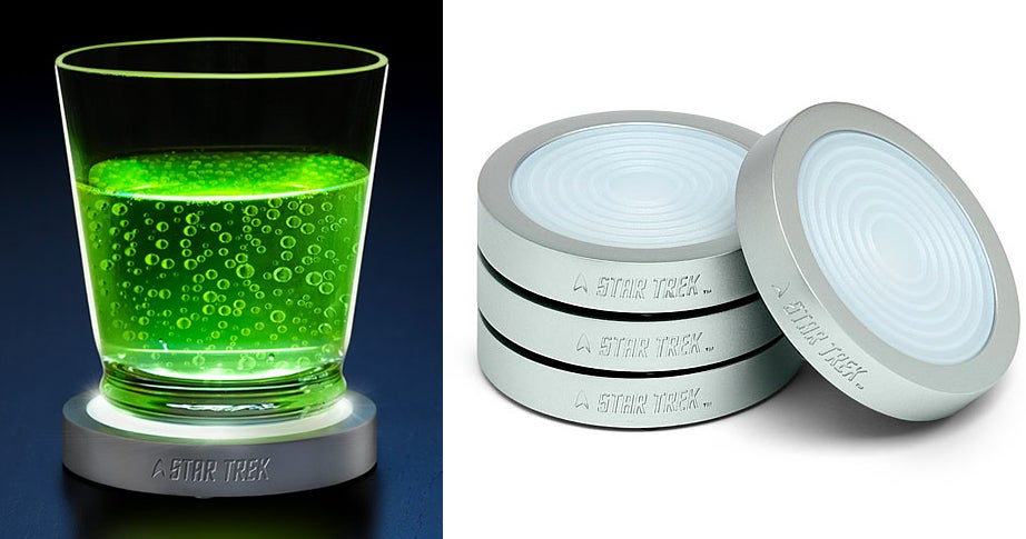 Beam Your Booze With Glowing Star Trek Transporter Pad Coasters