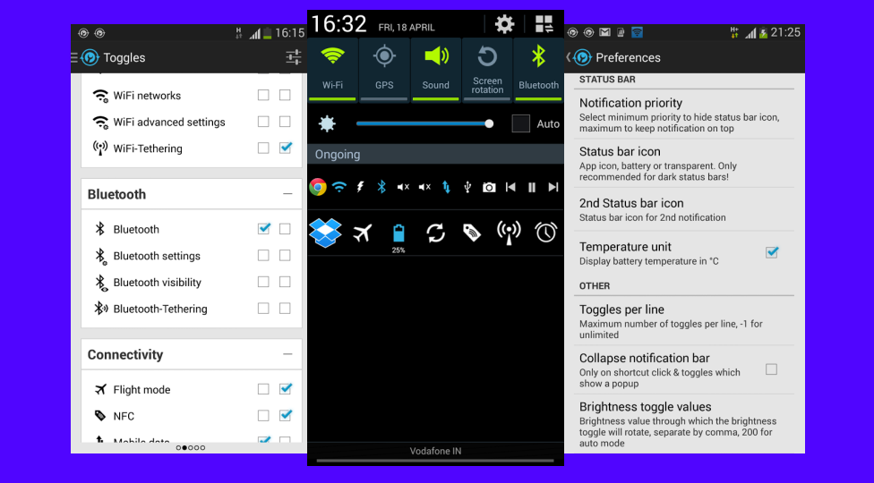 Notification Toggle Adds Settings and App to Android's Pulldown Bar