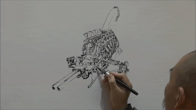 Few Artists Can Draw Engines Freehand Like This