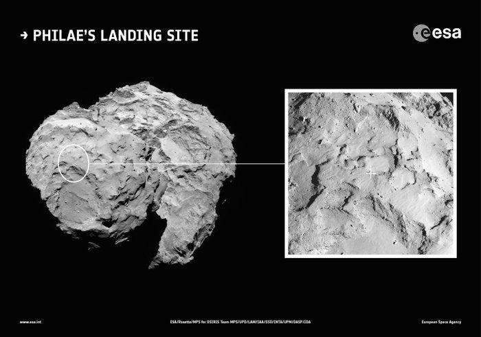 ESA announces comet landing site, shows spectacular photos