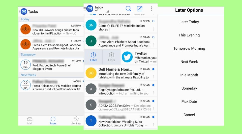 Blue Mail Snoozes Emails for Later, Turns Them Into a Task List