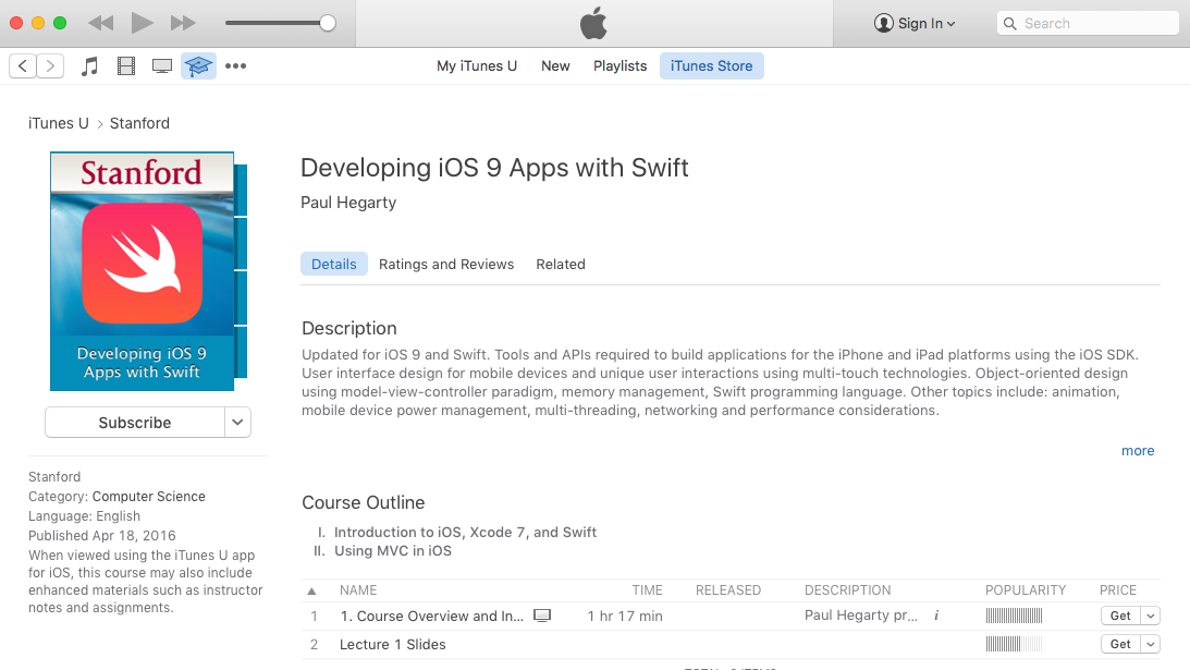 Stanford's Developing iOS 9 Apps with Swift Is Now Available