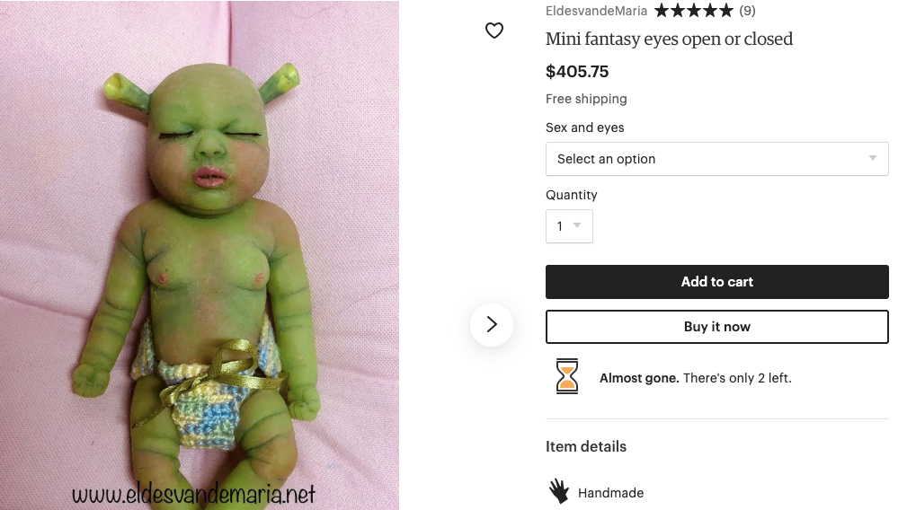 What's A Fair Price For A Shrek Baby?