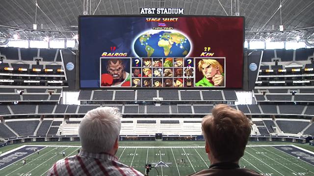 Conan O'Brien Takes Over A Football Stadium's Screen With Video Games