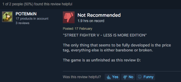 Street Fighter V, As Told by Steam Reviews