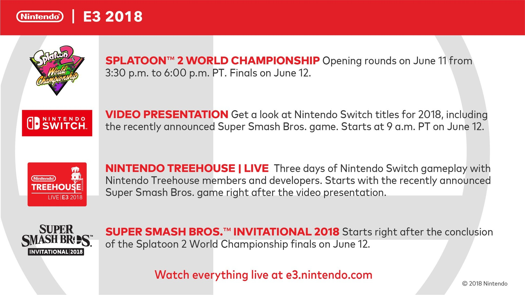Nintendo's E3 2018 Schedule