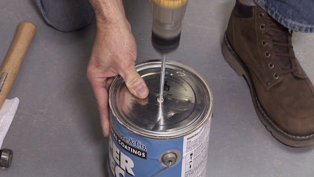 Drill a Hole Through the Paint Lid to Prevent Splashing When Mixing