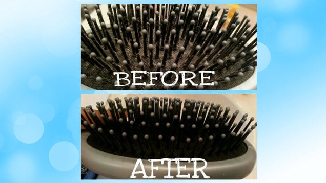 Thoroughly Clean A Hair Brush With A Toothbrush