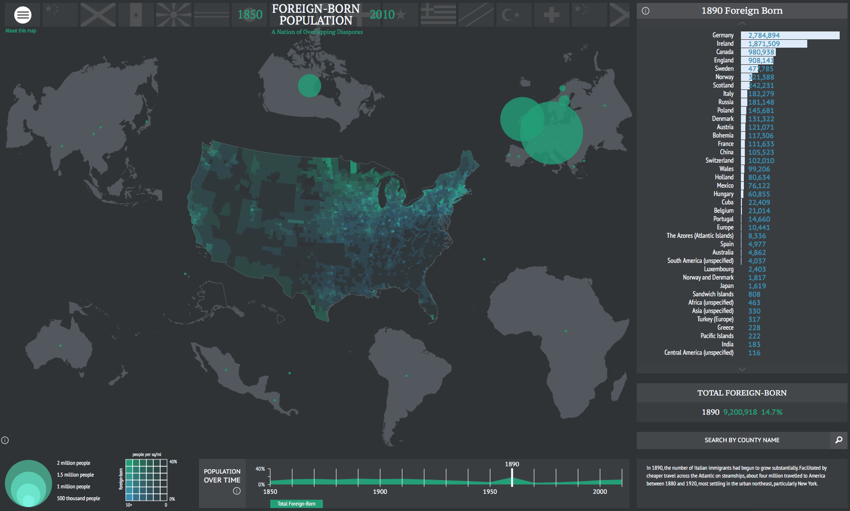 See the US Welcome Millions of Immigrants Over 150 Years In this Interactive Map