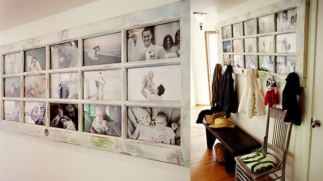 Turn an Old French Door into a Picture Frame Coat Rack