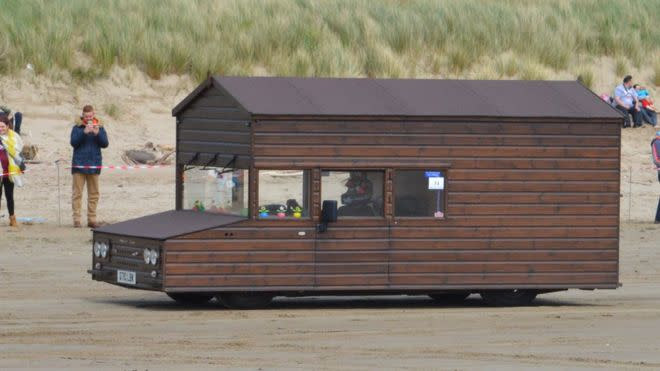 Extremely English Man Races Shed. Sets New Land Speed Record
