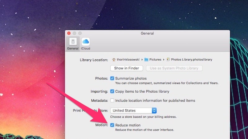 Speed Up OS X Photos By Reducing Motion