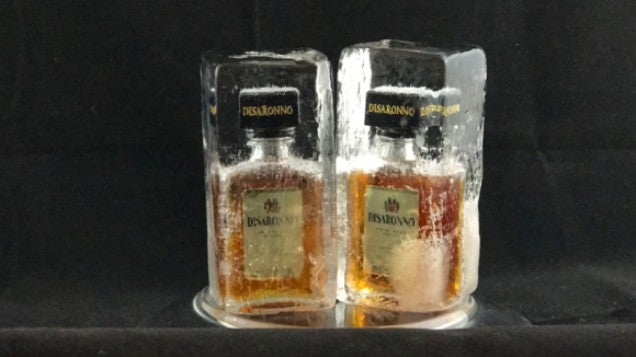 Freeze Mini Liquor Bottles In Blocks Of Ice For Fancy Party Favours