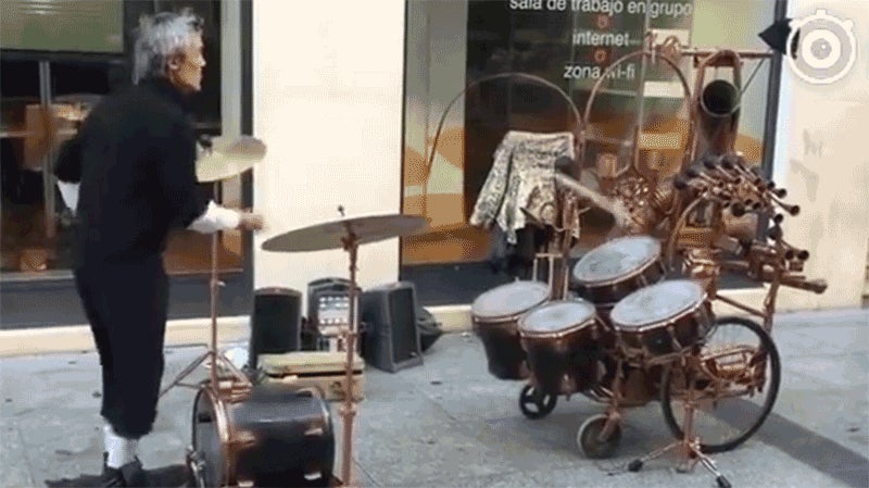 Give This Skilled Juggle-Drumming Street Performer All the World's Loose Change