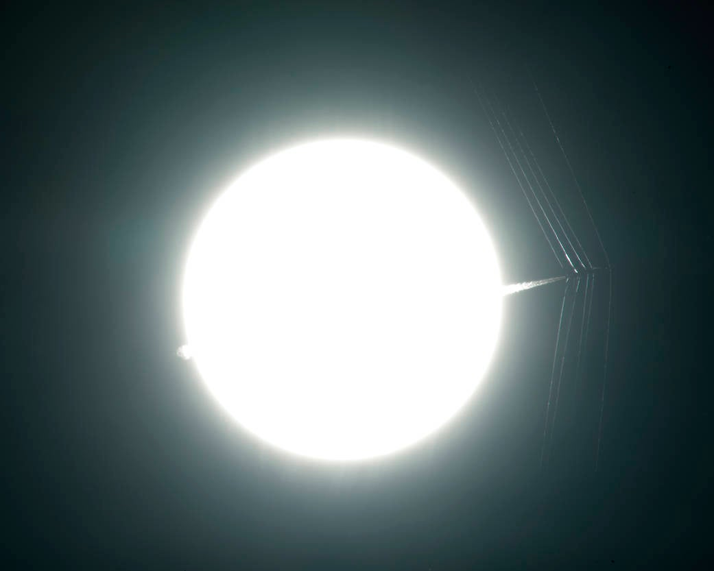 A Supersonic Jet And Its Shock Waves Appear To Pierce The Sun